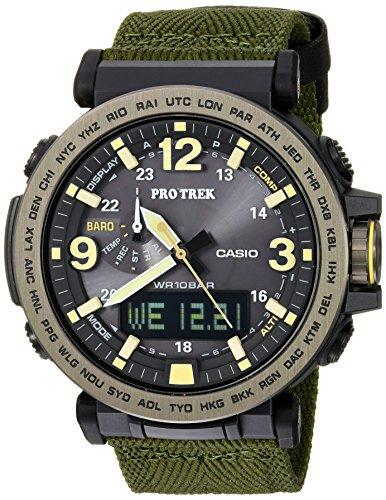 Casio Men's PRO TREK Stainless Steel Quartz Watch with Cloth Strap, Green, 30.5 (Model: PRG-600YB-3CR)