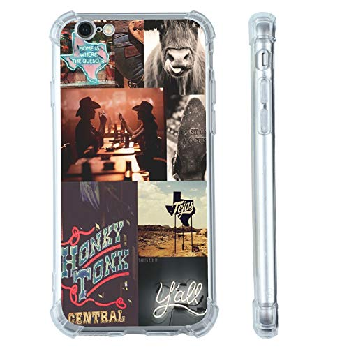 for iPhone 7/8/SE 2020 Western Case,Cowgirl Cowboy Collage Retro Howdy Boho Horses iPhone Case,Country Cowboy Ranch Retro Countrygirl Vintage Case for iPhone,Soft TPU Gifts Case for Girl Women