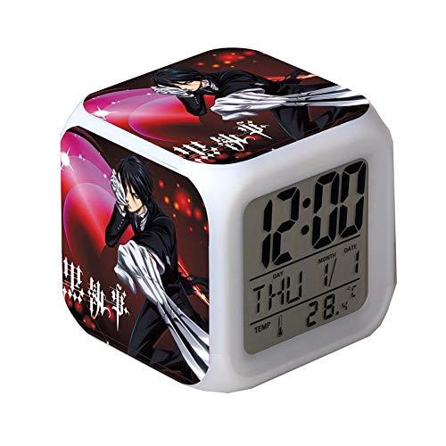 ZGSP Black Butler, Alarm Clock, Anime Alarm Clock, Creative Gifts, Seven Color Alarm Clock, Alarm and Snooze Function, Date and Temperature, Calendar Bedroom Dormitory (4)