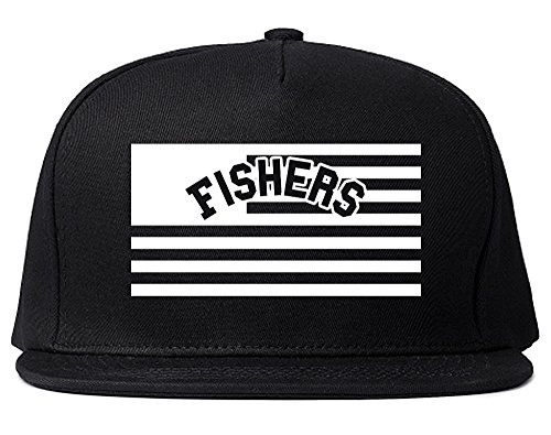 City of Fishers with United States Flag Snapback Hat Cap Black
