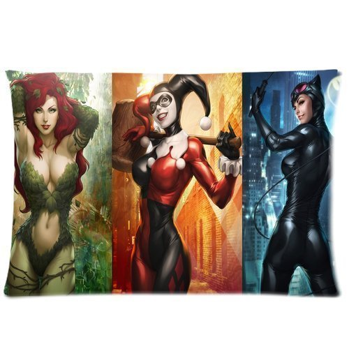 Pillowcase Poison Ivy Catwoman Harley Quinn Two Sides Picture Printed Customize Standard Size 20x30 Zippered