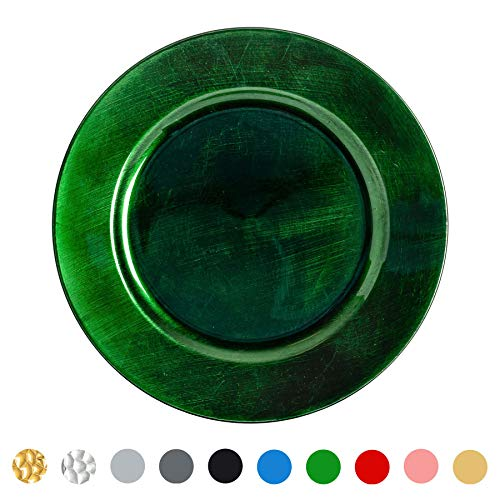 Argon Tableware Single Round Charger Plate - Brushed Metallic Finish - 33cm - Green