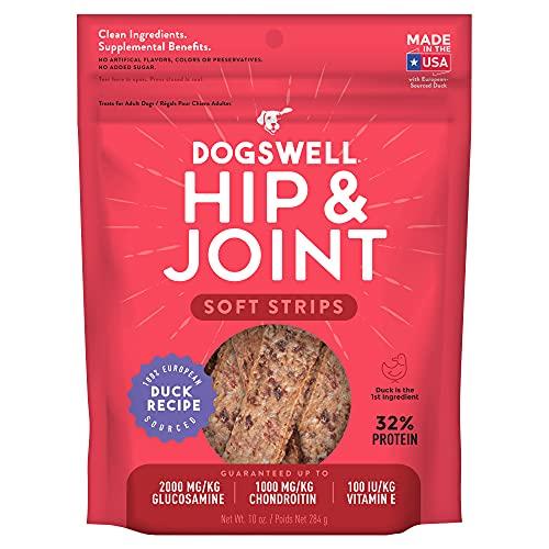 DOGSWELL Hip & Joint Dog Treats 100% Meaty, Grain Free, Glucosamine Chondroitin & Omega 3, Duck Soft Strips 10 oz