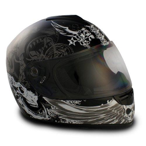 VCAN V136 Graphic Full Face Helmet (Dark Angel Black, X-Small)