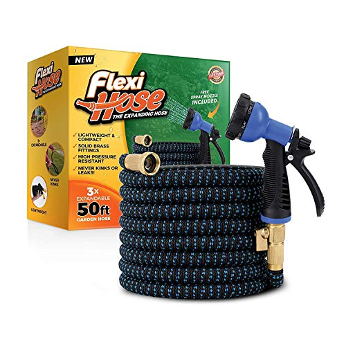 Flexi Hose with 8 Function Nozzle, 50 ft. Lightweight Expandable Garden Hose, No-Kink Flexibility, 3/4 Inch Solid Brass Fittings and Double Latex Core, Blue/Black