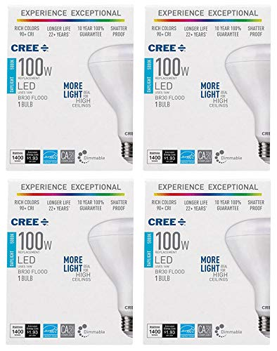 Cree 100W Equivalent Daylight (5000K) BR30 Dimmable Exceptional Light Quality LED Light Bulb (4-Pack)