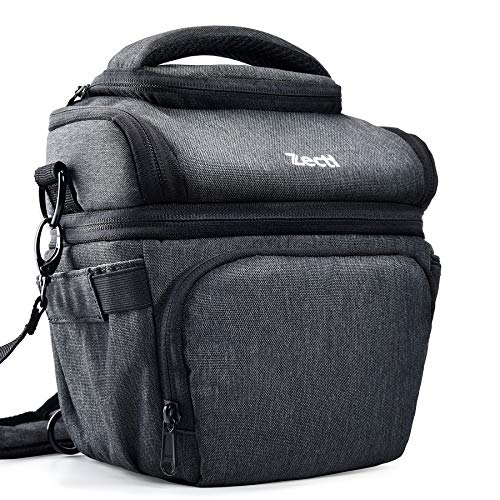 Zecti Camera Bag Padded Shoulder Bag Medium Camera Case with Waterproof Rain Cover Retractable Volume for SLR DSLR, Mirrorless Camera