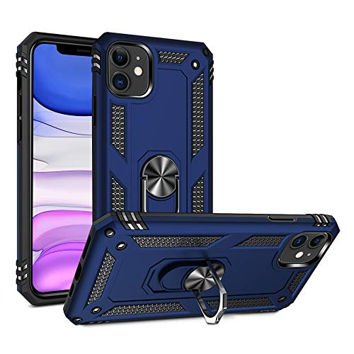 ULAK Designed for iPhone 11 Case with Rotating Holder Kickstand, Military Grade 15ft Drop Tested Protective Phone Case, Heavy Duty Protection Hybrid Shockproof Rugged Cover for iPhone 11, Navy Blue