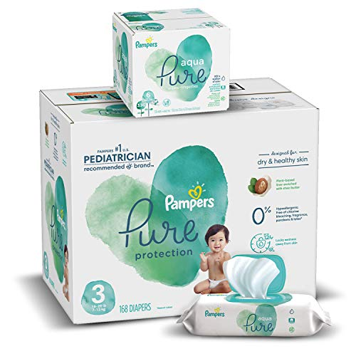 Diapers Size 3, 168 Count and Baby Wipes - Pampers Pure Protection Diapers and Aqua Pure 6X Pop-Top Sensitive Water Baby Wipes, 336 Count (Packaging May Vary)