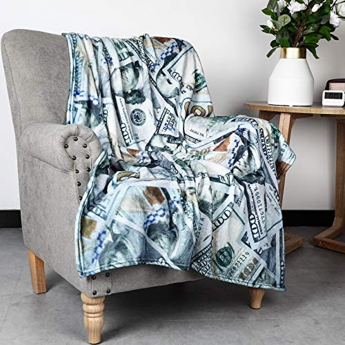 Fleece Blanket, Lightweight Soft Cozy Fuzzy Bed Blanket Throw Polyester 100 Dollar Bill Money Pattern Decorative Blanket for Sofa Couch Bed Chair (39 x 59 Inches)