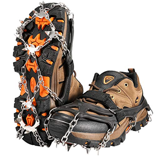 Ice Traction Cleats, ZOTO 19 Spikes Crampons for HikingBoots Shoe Ice and Snow Grips Anti-Slip Stainless Micro Spikes for Hiking, Walking, Climbing, Jogging, Fishing, Running (L)