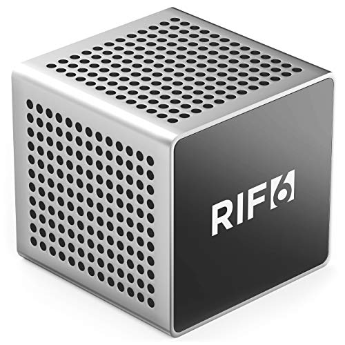 RIF6 Sound Cube Small Bluetooth Rechargeable Portable Speaker - 12 Hour Playtime, Full High Definition Sound for Smartphones Tablets & Laptops - Silver