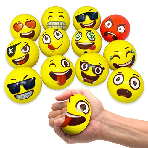 Oji-Emoji Party Pack 12 Emoji Stress Balls, stocking stuffers for kids, Christmas gift, Stress Reliever Fidget Party Pack Favor Toy for Kids, Therapy Squeeze Stocking Stuffers, Special Needs, Concentration, Anxiety, Motivation, ADHD, Autisim Team Building Exercise, Non Toxic BPA Free