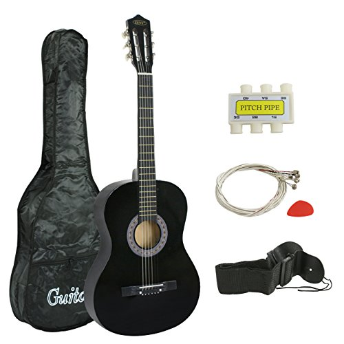 ZENY 38' New Beginners Acoustic Guitar With Guitar Case, Strap, Tuner and Pick (Black)