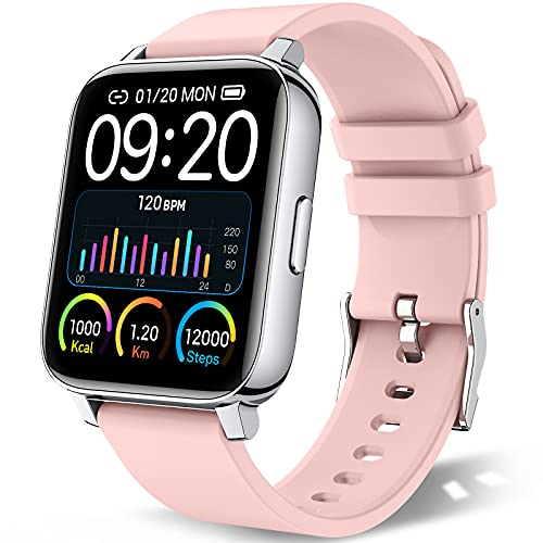 chalvh Smart Watch for Women, 1.69' Touch Screen Smartwatch for iPhone Android, IP67 Waterproof Fitness Tracker with Heart Rate Monitor and Sleep Monitor, Activity Tracker with Pedometer, Pink