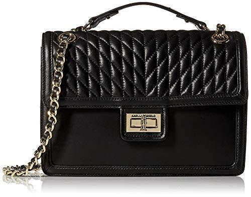 Karl Lagerfeld Paris Agyness Large Flap Shoulder Bag, Black/Gold