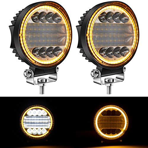 Yorkim 4.5' LED Pods, 2-Pack Off Road LED Light Bar Spot Flood Combo Round Amber Angel Eye-Shape Work Light Fog Lights Driving Lights for Truck Jeep SUV ATV UTV Pickup, Pack of 2