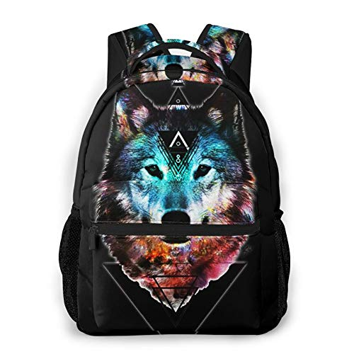 Sacred Wolf Schoolbag Backpack for Middle School College Student Bookbag Teenagers Computer Laptop Casual Bag