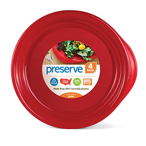 Preserve Everyday 9.5 Inch Plates, Set of 4, Pepper Red
