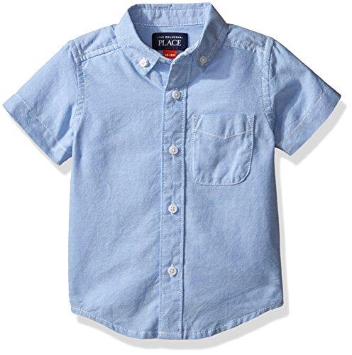 The Children's Place boys Short Sleeve Oxford School Uniform Button Down Shirt, Ltbluoxfrd 4764, 3T US