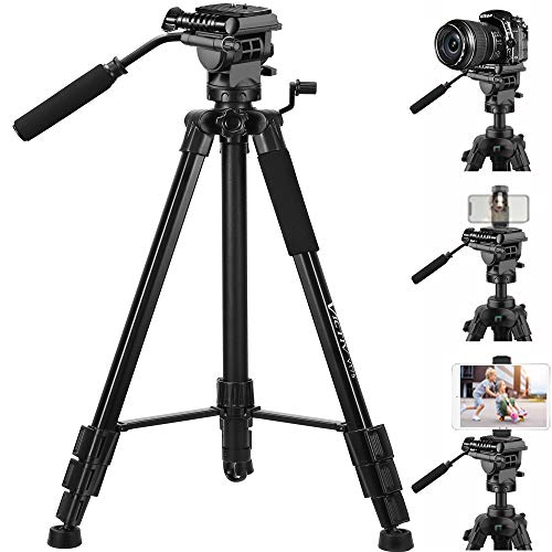 Tripod, 75 inch Tripod for Camera 15 lbs Loads with Fluid Head, 2 Quick Release Mounts and Tablet & Phone Mount