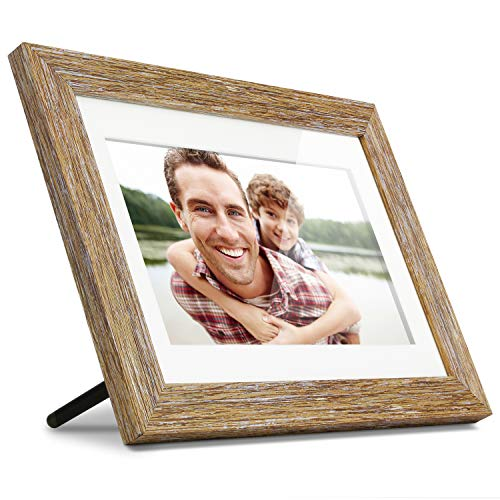 "Aluratek 10"" Distressed Wood Digital Photo Frame with Auto Slideshow, 1024 x 600 (ADPFD10F), 10' Wood Border, 10 Inch"