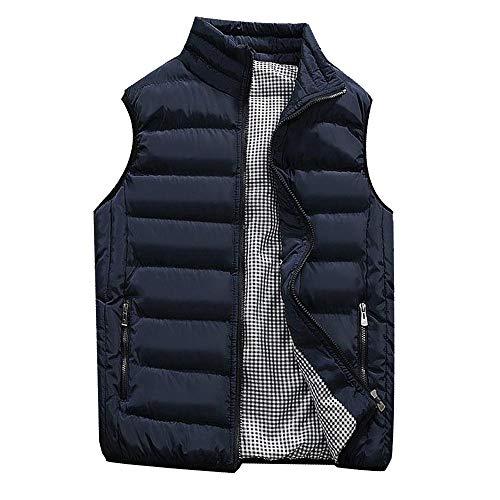 LISTHA Padded Cotton Vest Mens Winter Hooded Coat Sleeveless Jacket Thick Warm Dark Blue