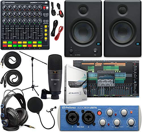 "PreSonus AudioBox 96 Audio Interface Full Studio Kit w/Studio One Artist Software Pack w/Novation Launch Control XL Controller for Ableton Live, Eris 3.5 Pair Studio Monitors & 1/4"" Instrument Cable"