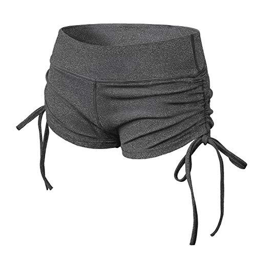 TYUIO Women's Stretch Solid Athletic Shorts Side Tie Pole Dance Yoga Shorts Grey XXL