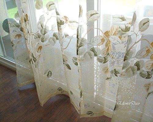 Elleweideco Modern Green and Autumn Leaf White Window Sheer