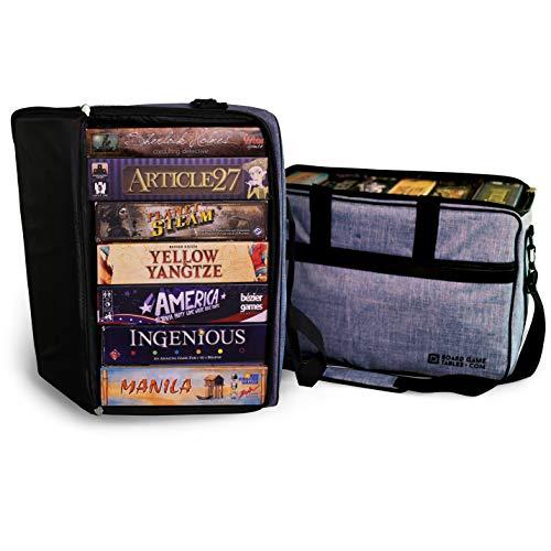 Board Game Bag - [Backpack/Shoulder Strap/Luggage Slip] - Padded Board Game Carrier (Heathered Blue)