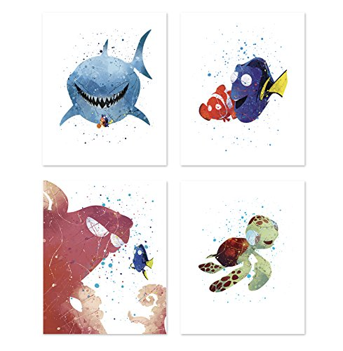 Finding Nemo Dory Wall Art Posters - Set of 4 Prints for Kids - Nemo - Dory - Hank - Turtle Squirt - Inspired Nursery Home Decor - Baby Shower Cartoon Illustrations - Birthday 8x10