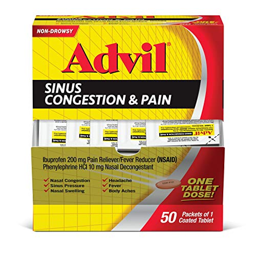 Advil Respiratory Advil Congestion & Pain Relief ( Packets), Non-Drowsy, 200mg Ibuprofen Pain Reliever/Fever & Nasal Decongestant, One Tablet Dose