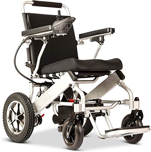 Fold & Travel Lightweight Electric Wheelchair Motor Motorized Wheelchairs Electric Silla De Ruedas Power Wheelchair Power Scooter Aviation Travel Safe Heavy Duty Mobility Scooter Wheelchair