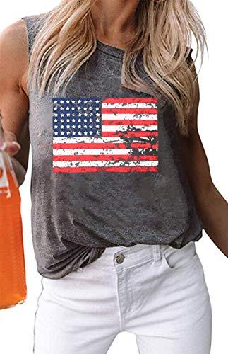 American Flag Tank Tops Women Patriotic Shirt USA Flag Stars Stripes Print Sleeveless T-Shirt 4th of July Tee Tops (Grey, L)