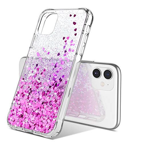 ULAK Compatible with iPhone 11 Case, Luxury Shiny Glitter Clear Hybrid Protective Case Slim Transparent Anti-Scratch Shock Absorption TPU Bumper Cover Designed for iPhone 11 6.1 inch, Bling Heart