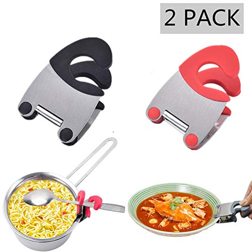 Spoon Holder/Pot Clip-2 Pack Kitchen Spoon Holder,Stainless Steel Anti-Scald Grip Resistance Spoon Clips Spoon Rest Pot Holder Durable Kitchen Utensils(Red and Black)