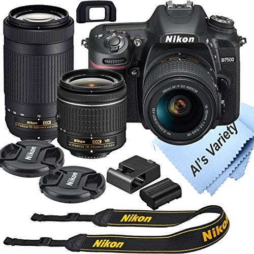 Nikon D7500 DSLR Camera Kit with 18-55mm VR + 70-300mm Zoom Lenses   Built-in Wi-Fi   20.9 MP CMOS Sensor   EXPEED 5 Image Processor and Full HD 1080p   SnapBridge Bluetooth Connectivity
