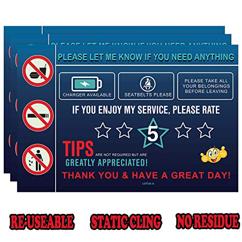 Rideshare Accessories Rating Tips Sign - Window Car Taxi Driver 5 Stars Tipping Appreciated Cling Decal Reusable Removable Windows Display Vehicle for Automotive Accessory