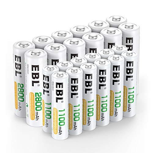 EBL 24 Sets AA AAA Batteries Combo with 12-Pack AA 2800mAh & 12-Pack AAA 1100mAh Rechargeable Batteries