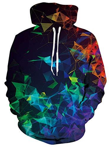 uideazone Mature Men FleeceJacket Hoodies Pullover with Roomy Front Pocket Jumper Sweatshirts Loose Streetwear Sweater
