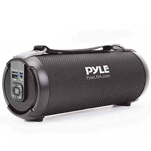 Wireless Portable Bluetooth Boombox Speaker - 100 Watt Rechargeable Boom Box Speaker Portable Music Barrel Loud Stereo System with AUX Input, MP3/USB/SD Port, Fm Radio, 2.5' Tweeter - Pyle PBMSPG3BK