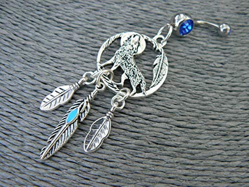 Tribal howling at the moon wolf Dreamcatcher Blue Feather belly ring