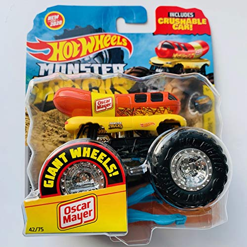 Hot Wheels Monster Trucks 2020 Giant Wheels 1:64 Scale Oscar Mayer with Crushable car