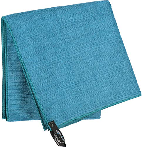 PackTowl Luxe Quick Dry Microfiber Towel for Beach and Travel, Aquamarine, Hand - 16.5 x 36 Inch