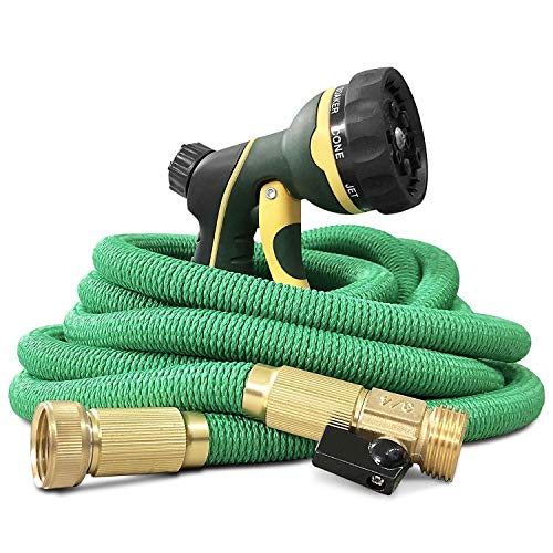 NGreen Expandable and Flexible Garden Hose - 25/50/75/100 Feet Strongest Triple Core Latex and Solid Brass Fittings Free Spray Nozzle 3/4 USA Standard Easy Storage Kink Free Water Hose (25 FT)