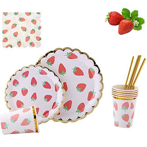 112 Piece Disposable Dinnerware Set,Plates, MaitianGuyou Cups, Straws & Napkins: 20 Dinner Plates, 20 Dessert Plates, 20 Cups, 20 Straws & 32 Napkins for Party(Strawberry)