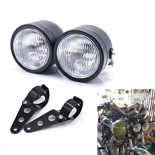 Motorcycle Headlight, Universal Twin Front Head Lamp with Bracket For Street Dual Sport Dirt Bikes Street Fighter Naked Cafe Racer (Style 1)