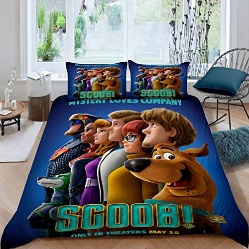 Comforter Bedding Set 3 Piece Set, Scoob All Season Quilt Set Duvet Cover + 2 Pillow Shams Ultra Soft and Breathable Comforter Cover, Twin (68x88 inches) Movie Scooby Doo Poster