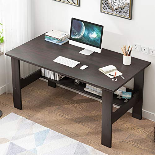 US Fast Shipment 40 inch Writing Computer Desk Modern Simple Study Desk Industrial Style Workstation Laptop Table with Storage Shelf -Workstation-Students Study Writing Desk Wood Table (Black)